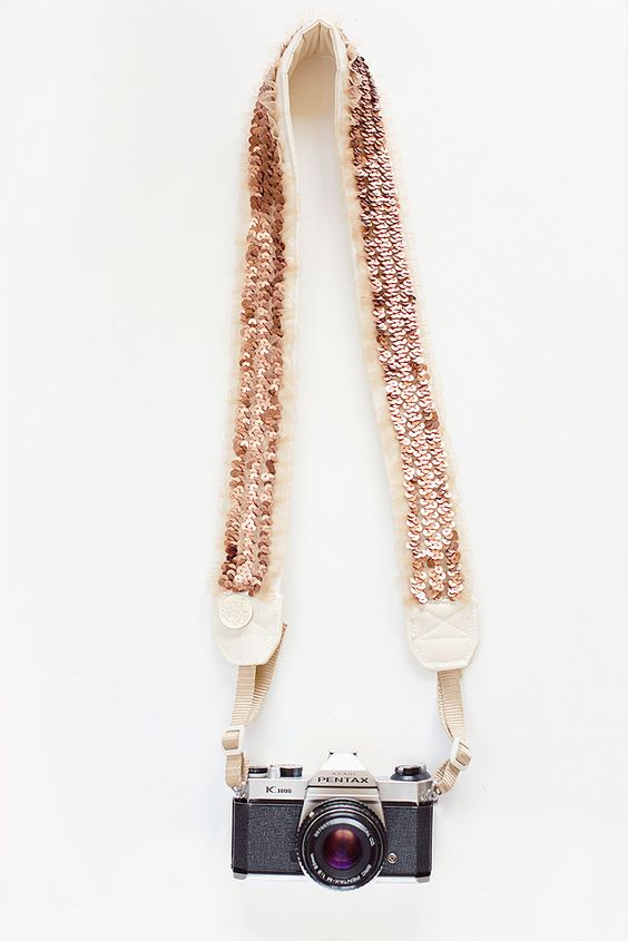 sequined camera strap