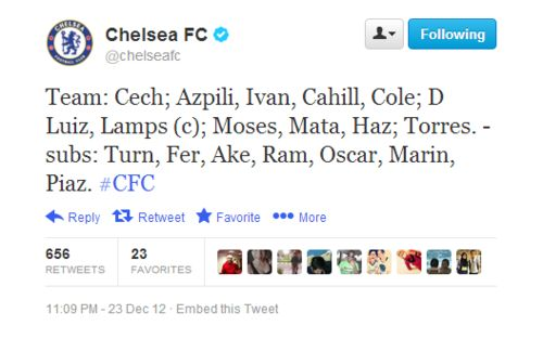 Today's lineup. #Chelsea #CFC #Blues