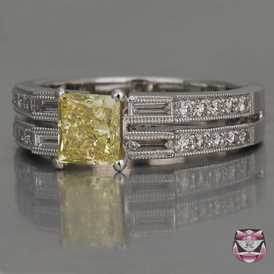 GIA Certified Fancy Intense Yellow Diamond Engagement Ring