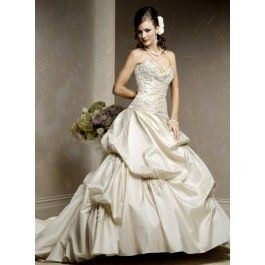 Shop Sweetheart A-line Princess Ruched Crystal Empire Embroidery Sweep Train Wedding Dresses online - Discount available!