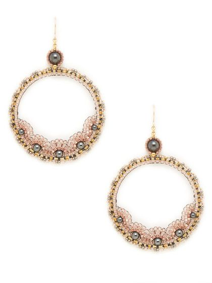 Rose & Hematite Open Circle Drop Earrings by Miguel Ases: