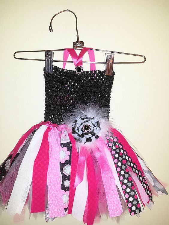 Shabby Chic Hot Pink and Black Fabric and Tulle Infant tutu