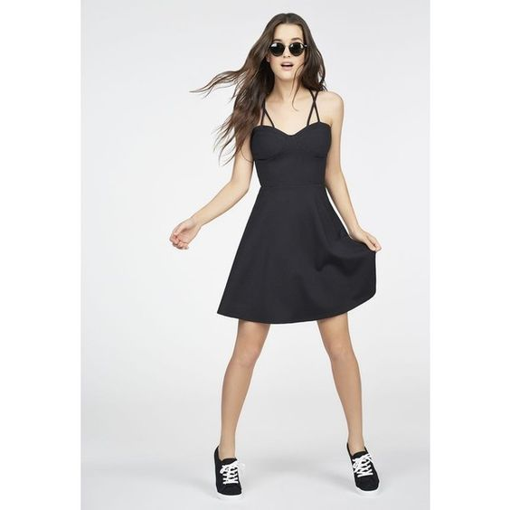 Justfab Little Black Dresses Fit And Flare Multi Strap Dress ($40) ❤ liked on Polyvore featuring dresses, black, fit and flare dress, little black dress, justfab, lbd dress and fit flare dress