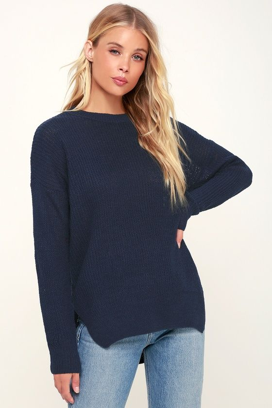 Alyssa Navy Blue Knit Sweater | Blue knit sweater, Sweaters