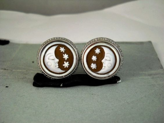 Half Moon Earrings Cameo Carved Italy Handmade 925 Silver Orecchini Cammeo | eBay