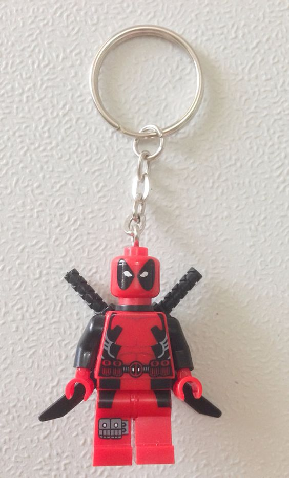 LEGO Marvel Deadpool PARACORD Character keyring HAND MADE