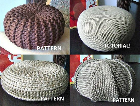 Crochet pouf floor cushions and poufs on pinterest for Floor knitting