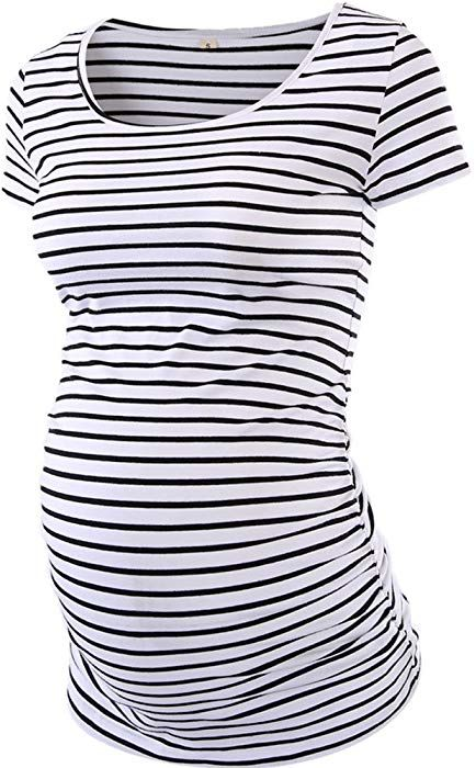 0cd3eb559635b AnnAnn Womens Motherhood Maternity Side Ruched Tunic Tops Scoop Neck  T-Shirt Short Sleeve Mama Pregnancy Clothes, White Black Stripe, Medium at  Amazon ...