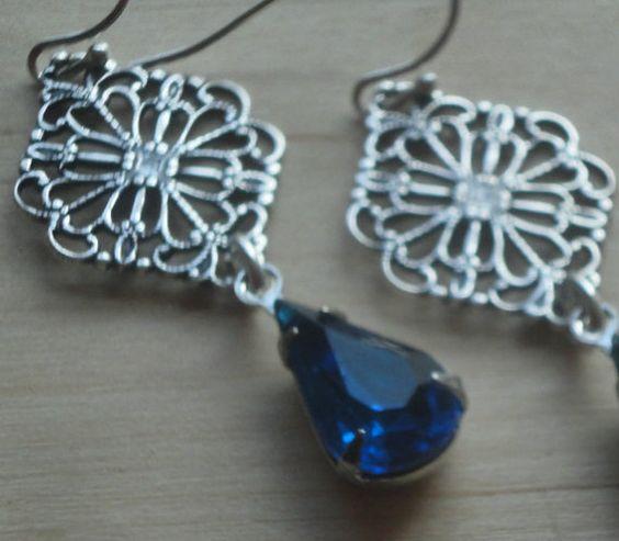 Blue Jewelry Victorian Earrings Blue Earrings by pink80sgirl