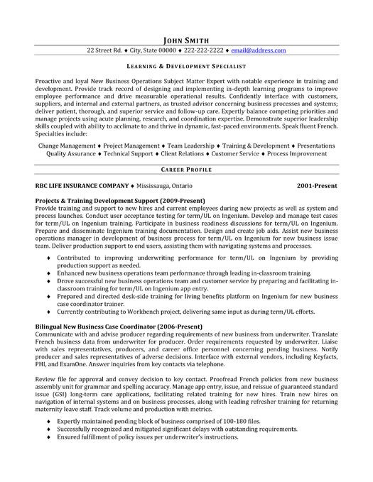 A resume template for a Learning and Development Specialist You - technical trainer sample resume