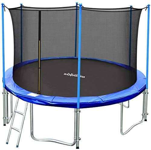 New Zupapa 15ft 14ft 12ft Tuv Approved Kids Trampoline Enclosure Net Ladder Pole Safety Pad Jumping Mat Spring Pull T Hook Include All Accessories Great Out In 2020 Backyard Trampoline Outdoor Trampoline
