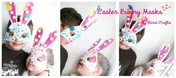 Bunny Masks Tutorial with Printable.: Masks Free, Masks Printable, Bird Crafts, Easter Crafts For Kids, Party Printables, Easter Printables, Free Printable