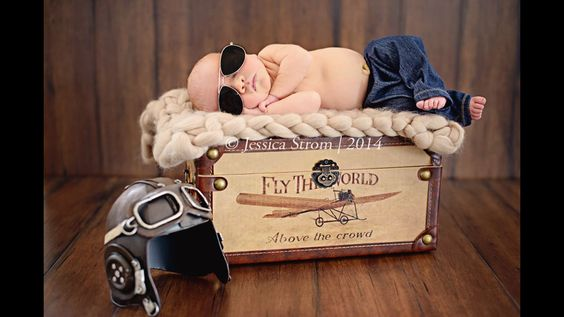 Airplane themed newborn picture