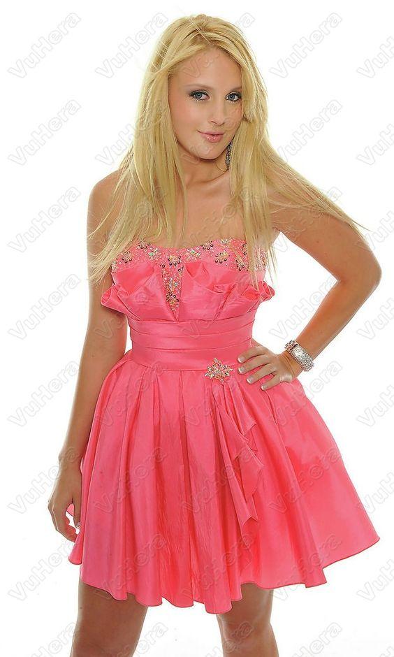 Sequin Ruffled Pleated Short Strapless Pink Dress - Vuhera.com