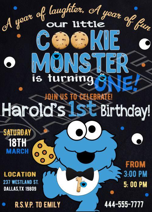 Cookie Monster Invitation Cookie Monster Birthday Invitation Cookie Monster Birthday Invitations Monster 1st Birthdays Cookie Monster Birthday