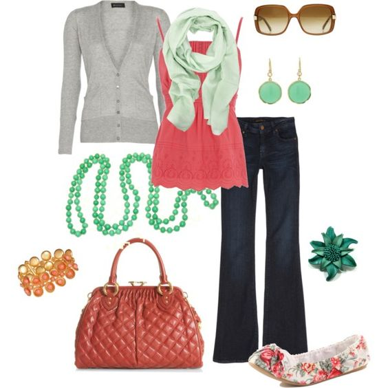 mint + coral, created by htotheb on Polyvore