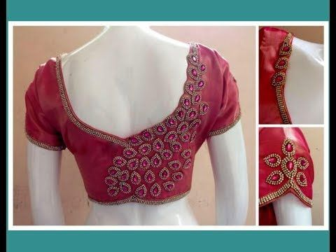 How To Make Stone Lace Patches To Create Designer Blouse At Home Diy Youtube Blouse Designs Simple Blouse Designs Embroidery Blouse Designs