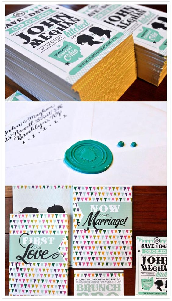 colorful Ohio wedding invitations.