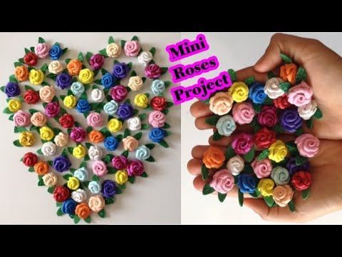 طريقه عمل ورود صغيره من الفومmini Roses Project كفره مشروع سهل ومربح عمل أصغر ورده من ورق الفوم Youtub Flower Embroidery Designs Mini Roses Fabric Flowers