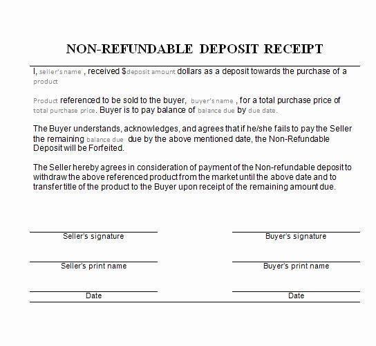 Non Refundable Deposit Form Template New Earnest Money Deposit Non Refundable Difference Warrants Receipt Template Invoice Template Deposit