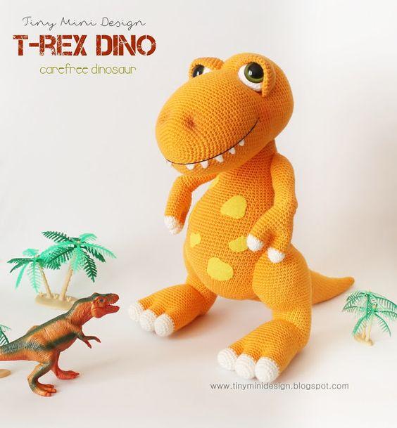 Mini Dinosaur Knitting Pattern : Amigurumi T-Rex Dino amarongiu284@gmail.com Pinterest Patterns, Toys an...