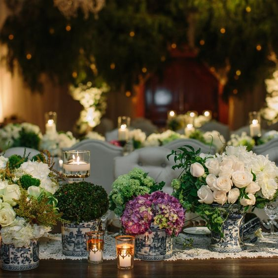 Chinoiserie vase centerpieces and blue white on pinterest