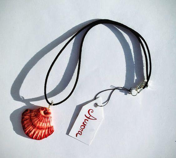 AURORA Shell Pendant Necklace  Collar de by ElTalismanArtesania