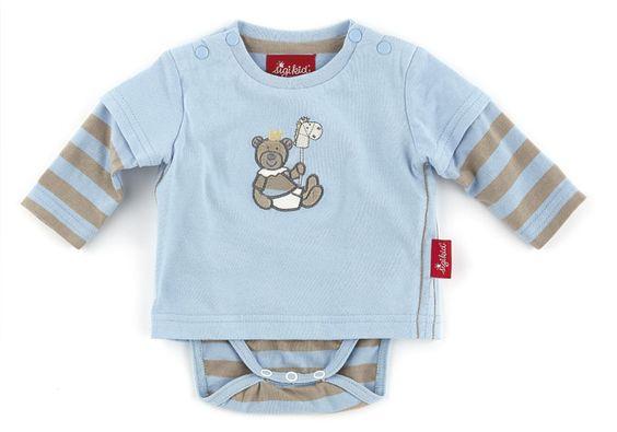 Langarmshirt mit Body hellblau   - Material: Baumwolle  - Farbe: blau mit braunen Streifen  - Maschinenwäsche: bei 40 °C  - trocknergeeignet
