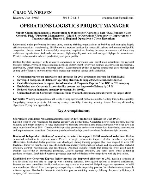 Logistics Operations Manager Resume Operations Logistics Project - resume for warehouse manager