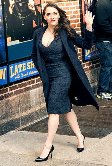 2 Broke Girls star Kat Dennings heads into the NYC studios of the Late Show with David Letterman for a taping on Feb. 25