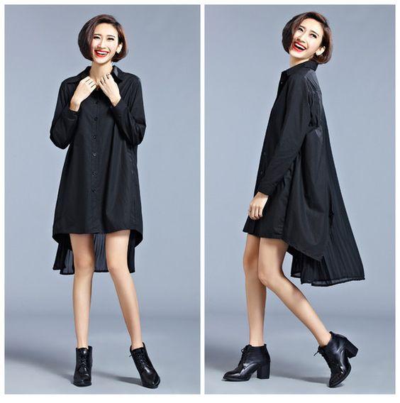 Long Sleeve T-Shirts – Loose BLACK Asymmetric Dress – a unique product by sqlan on DaWanda