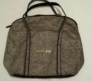 Victoria's Secret Glamour Tote Duffle Bag Gold Glitter tote travel beach NWOT