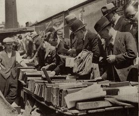 Farringdon Road book market. 1930's