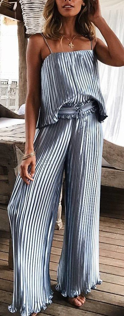 #winter #outfits gray and white accordion-pleat spaghetti strap jumpsuit