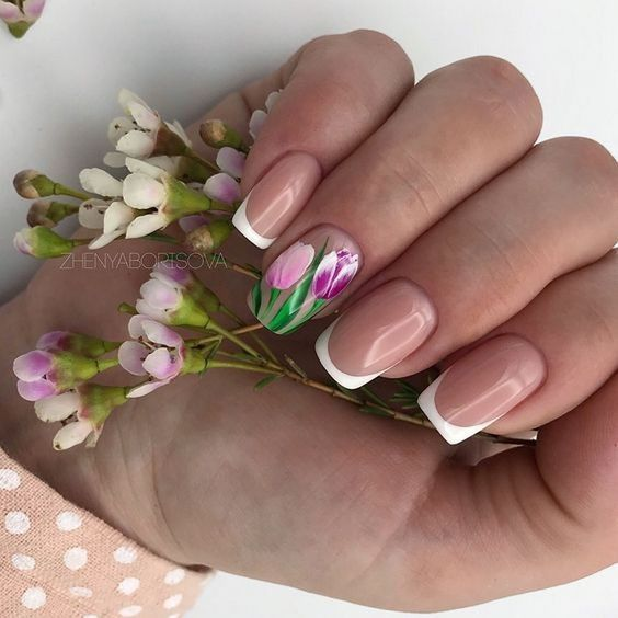 Modne Paznokcie W Kwiaty Top 21 Niesamowitych Inspiracji Na Kwiatowy Manicure Tulip Nails Flower Nails Spring Nail Art