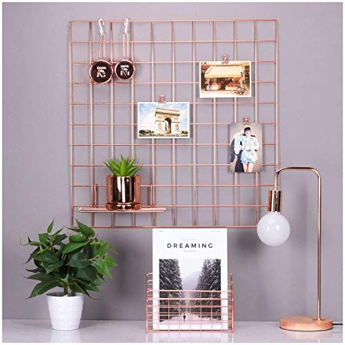 Simmer Stone Rose Gold Wall Grid Panel For Photo Hanging Https Www Amazon Com Dp B077jy69w5 Ref Cm Sw R P Rose Gold Wall Decor Gold Wall Decor Gold Walls