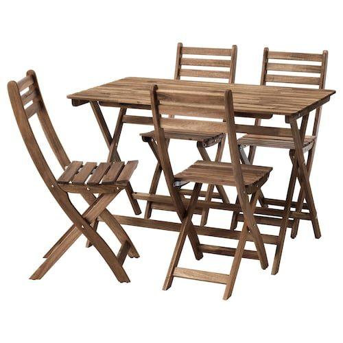 Sedie E Tavoli Da Esterno Ikea.Tarno Tavolo 2 Sedie Da Giardino Acacia Nero Acciaio Mordente