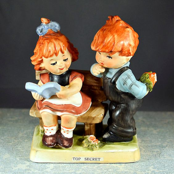 #Vintage #Antique #Retro #Erich #Stauffer #ARNART #Figurine  Top Secret #Redhead #Ceramic (Similar to #Hummel) by OneRustyNail on #Etsy