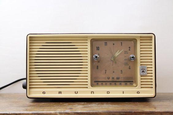 Vintage Grundig Tube Radio Alarm Type 65    It will be perfect Wes Anderson movie style interior ;-)
