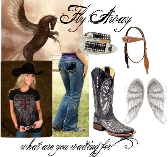 """""""Fly Away Cowgirl"""" by rcconline on Polyvore  Cowgirl Tuff Black Wing Jeans"""