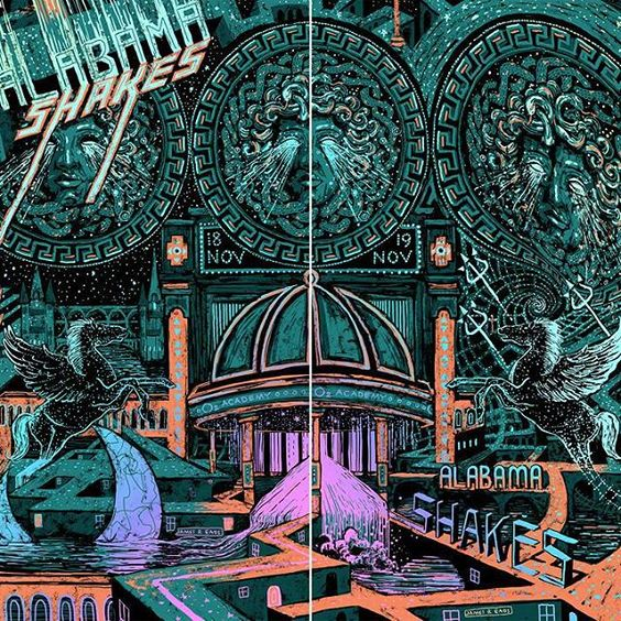 Excited for night 1 of 2 at Brixton Academy! Check out this amazing two part poster by @james.r.eads.art  Single night posters are available at the shows and if you get both they can be combined into one image. Looking forward to tonight London!