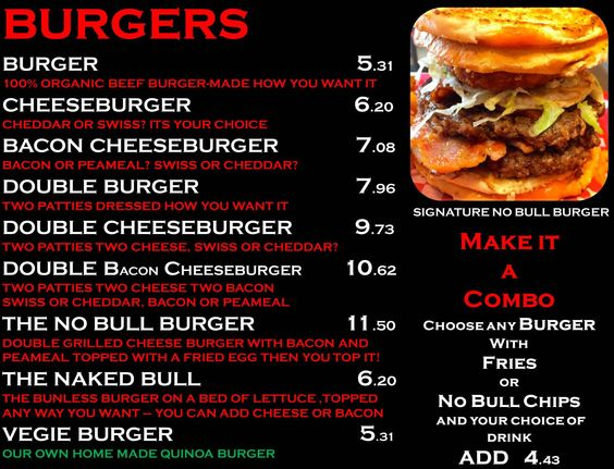 no bull burgers menu foods pinterest burgers and burger menu