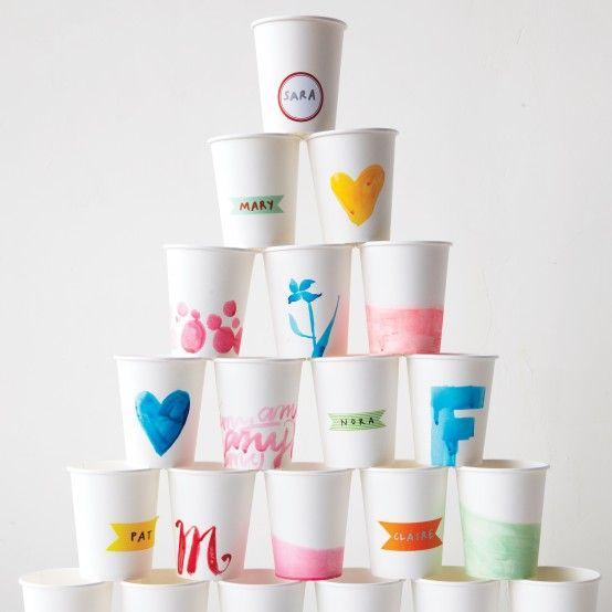 Vasos decorados para una fiesta