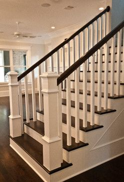 Craftsman staircase transitional staircase houston for Stair remodel houston