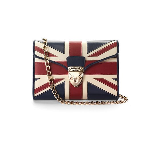Aspinal of London Brit Manhattan Clutch with Chain