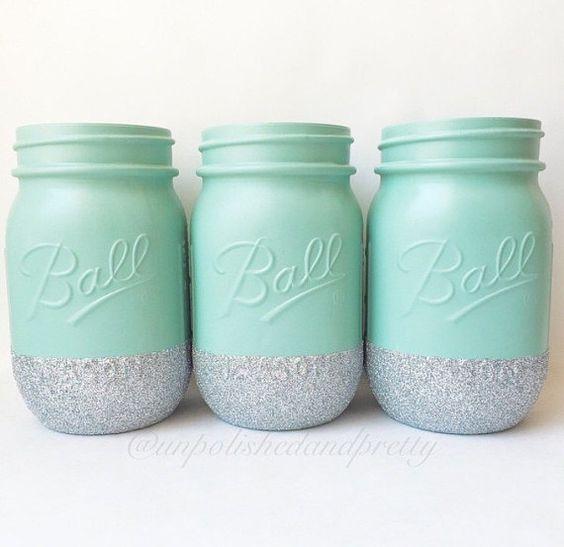 Glitter Mason Jars wedding decor mason jars von UnpolishedandPretty