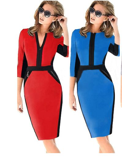 2016 Frühling Herbst Mode Frauen Kleid Colorblock Cotton Stretch Tunika tragen…