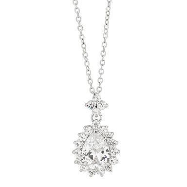 Cubic Zirconia Crystal Teardrop Pendant Necklace - Online Exclusive