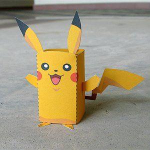 Diy printable paper box pocket monster pikachu for Pokemon crafts for kids