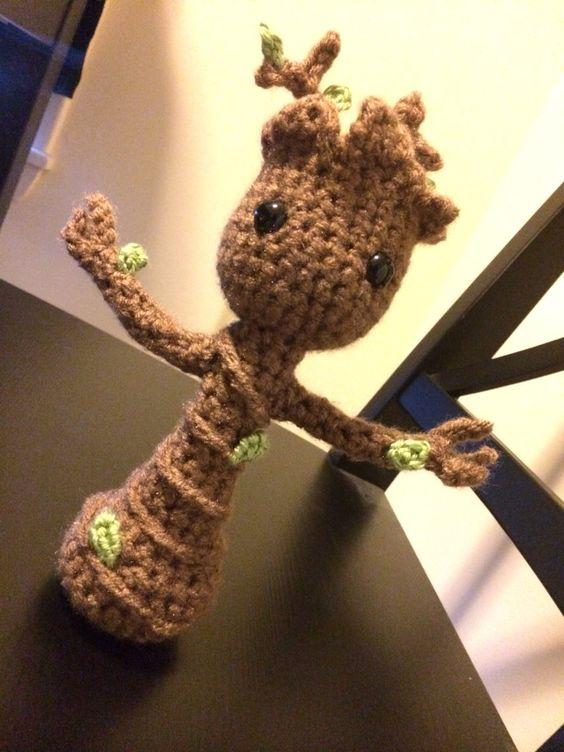 Amigurumi Groot Patron : Crocheted Amigurumi Dancing Baby Groot by OhhaiSuNsHiiN3 ...
